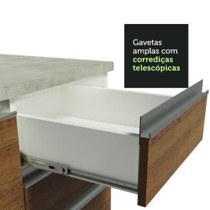 Balcão Gabinete de Pia Madesa Glamy 120 cm 2 Portas e 3 Gavetas - Branco/Rustic