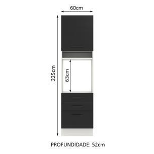 Torre Quente Madesa Agata 60 cm 1 Porta 3 Gavetas - Branco/Preto