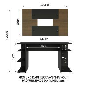 Mesa Gamer Madesa 9409 e Painel para TV até 58 Polegadas - Preto/Rustic