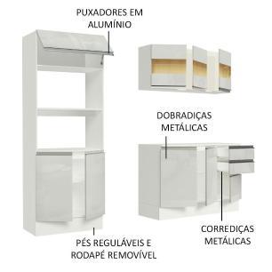 Cozinha Compacta 100% MDF Madesa Smart 190 cm Com Armário, Balcão e Tampo - Frentes Branco Brilho