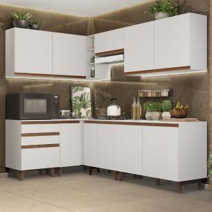 Cozinha Completa de Canto Madesa Reims 392002 com Armário e Balcão - Branco
