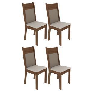 Kit 4 Cadeiras 4280 Madesa - Rustic/Crema/Pérola