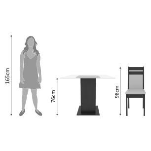 Conjunto Sala de Jantar Madesa Nice Mesa Tampo de Vidro com 4 Cadeiras