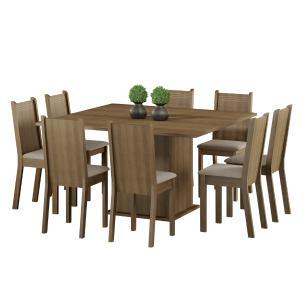 Conjunto Sala de Jantar Clarice Madesa Mesa Tampo de Madeira com 8 Cadeiras