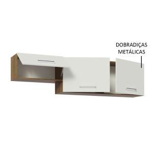 Armário Aéreo Madesa Onix 180 cm 3 Portas - Rustic/Branco