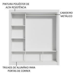 Guarda-Roupa Casal Madesa Mônaco 3 Portas de Correr com Espelho - Branco/Carvalho