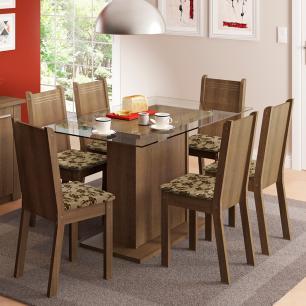 Conjunto Sala de Jantar Madesa Gales Mesa Tampo de Vidro com 6 Cadeiras