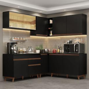Cozinha Completa de Canto Madesa Reims 382001 com Armário e Balcão - Preto
