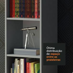 Kit Madesa Estante Livreiro 6908 + Estante Livreiro 6906 - Cinza