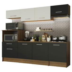 Cozinha Completa Madesa Onix 240002 com Armário e Balcão - Rustic/Preto/Branco 5Z77