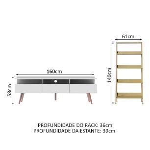 Rack para TV até 65 Polegadas Madesa Londres e Estante Escada - Branco/Carvalho