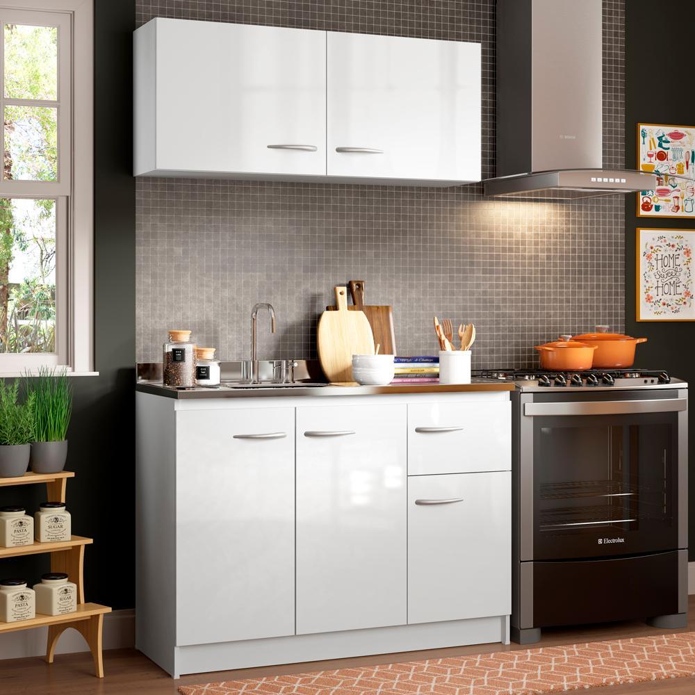 Cozinha Compacta Madesa Isabel com Armário e Balcão (Sem Tampo e Pia)