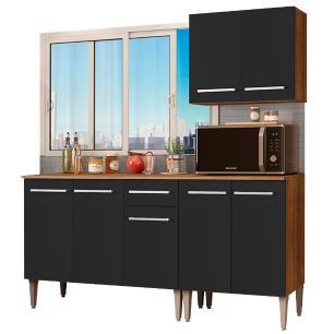 Cozinha Compacta Madesa Emilly Free com Armário e Balcão - Rustic/Preto