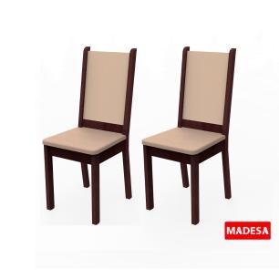 Kit 2 Cadeiras 4281 Madesa Tabaco/Crema/Pérola