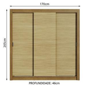 Guarda-Roupa Casal Madesa Mônaco 3 Portas de Correr - Rustic/Carvalho