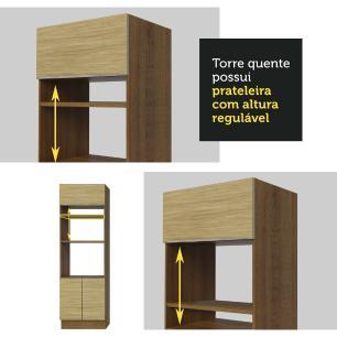 Torre Quente Madesa Lux 70 cm 3 Portas - Rustic/Carvalho