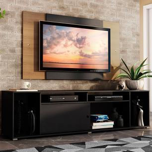 Rack Madesa Cancun e Painel para TV até 58 Polegadas - Preto/Rustic 8N7K