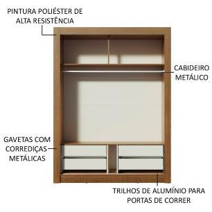 Guarda-Roupa Solteiro Madesa Dallas Plus 2 Portas de Correr com Espelho 4 Gavetas - Rustic/Carvalho