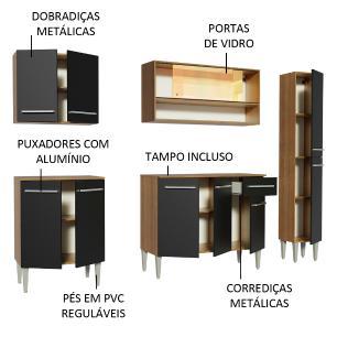 Cozinha Completa Madesa Emilly Sky com Armário Vidro Reflex e Balcão - Rustic/Preto