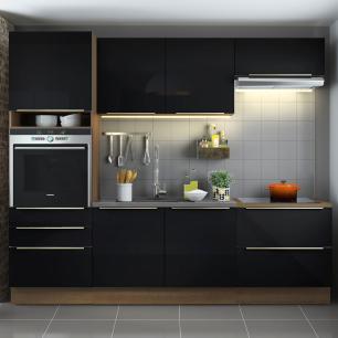 Cozinha Completa Madesa Lux com Armário e Balcão 6 Portas 5 Gavetas - Rustic/Preto
