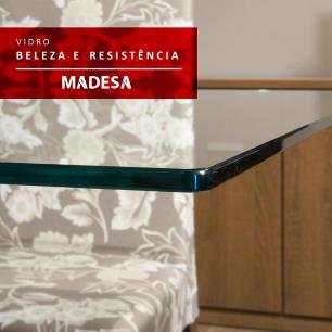 Conjunto Sala de Jantar Madesa Giulia Mesa Tampo de Vidro com 4 Cadeiras - Rustic/Preto/Sintético Preto