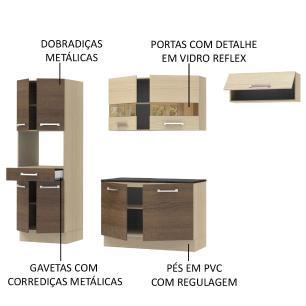 Cozinha Compacta Madesa Rubi com Armário e Balcão 9 Portas 1 Gaveta