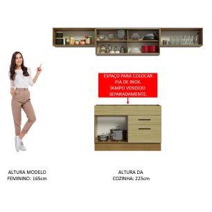 Cozinha Compacta Madesa Agata 280001 com Armário e Balcão - Rustic/Carvalho