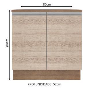 Balcão Madesa Glamy 80 cm 2 Portas - Rustic/Saara
