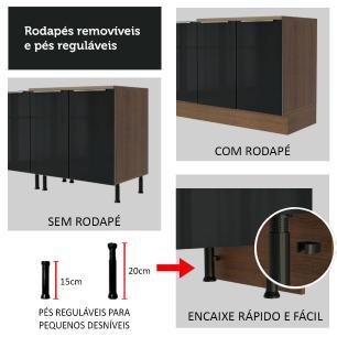 Balcão Madesa Lux 40 cm 1 Porta - Rustic/Preto