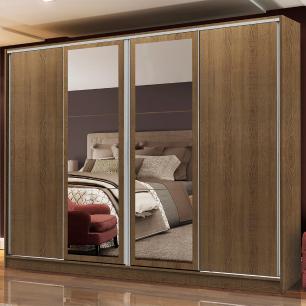 Guarda-Roupa Casal Madesa Cronos 4 Portas de Correr com Espelhos
