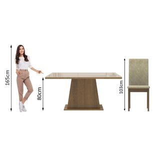 Conjunto Sala de Jantar Madesa Thaís Mesa Tampo de Vidro com 6 Cadeiras - Rustic/Crema/Imperial