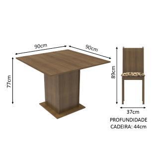 Conjunto Sala de Jantar Kate Madesa Tampo de Madeira com 4 Cadeiras - Rustic/Bege Marrom