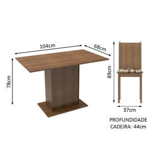 Conjunto Sala de Jantar Lexy Madesa Mesa Tampo de Madeira com 4 Cadeiras - Rustic/Bege Marrom