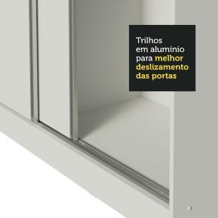 Guarda Roupa Infantil 100% MDF Madesa Logan 3 Portas de Correr com Espelho - Branco