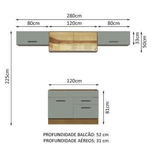 Cozinha Compacta Madesa Agata 280001 com Armário e Balcão - Rustic/Cinza