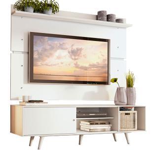 Rack Madesa Dubai e Painel para TV até 65 Polegadas com Pés - Branco