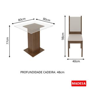 Conjunto Sala de Jantar Soraya Madesa Mesa Tampo de Vidro com 4 Cadeiras