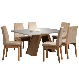 Conjunto Sala de Jantar Madesa Yasmin Mesa Tampo de Madeira com 6 Cadeiras