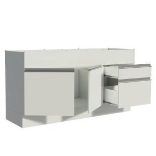 Balcão de Pia Madesa Glamy 150 cm 2 Portas e 2 Gavetas (Sem Tampo e Pia) - Branco