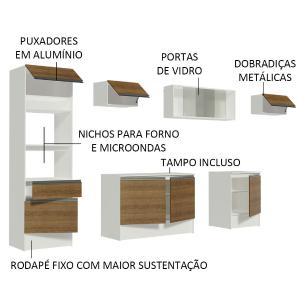 Cozinha Completa Madesa Topazio 300001 com Armário, Balcão e Tampo - Branco/Rustic