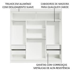 Guarda-Roupa Casal Madesa Reno 3 Portas de Correr com Espelho - Branco/Carvalho