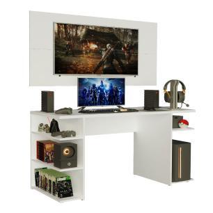 Mesa Gamer Madesa 9409 e Painel para TV até 50 Polegadas - Branco