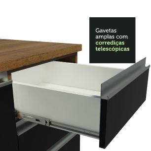 Cozinha Completa Madesa Parma com Armário e Balcão (Sem tampo e Pia) - Rustic/Preto/Branco