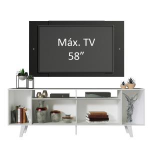 Rack Madesa Cancun e Painel para TV até 58 Polegadas com Pés - Branco/Preto 7377