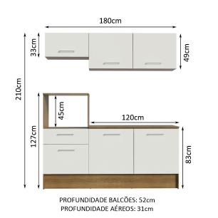 Cozinha Compacta Madesa Onix 180001 com Armário e Balcão - Rustic/Branco