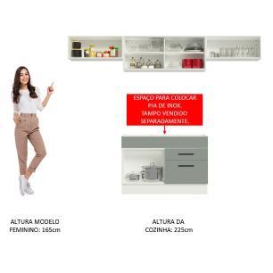 Cozinha Compacta Madesa Agata 280001 com Armário e Balcão - Branco/Cinza