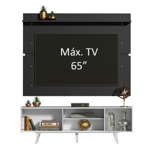 Rack Madesa Dubai e Painel para TV até 65 Polegadas com Pés - Branco/Preto 0977