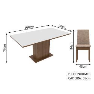 Conjunto Sala de Jantar Madesa Cecília Mesa Tampo de Madeira com 6 Cadeiras
