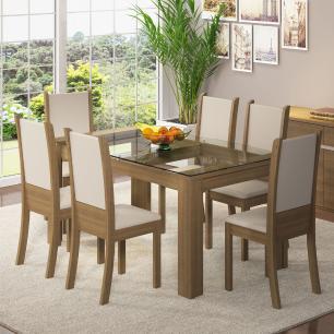 Conjunto Sala de Jantar Madesa Crystal Palace Mesa Tampo de Vidro com 6 Cadeiras