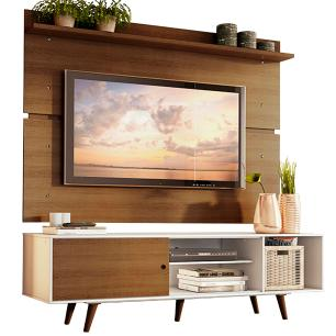 Rack Madesa Dubai e Painel para TV até 65 Polegadas com Pés - Branco/Rustic 9B5Z